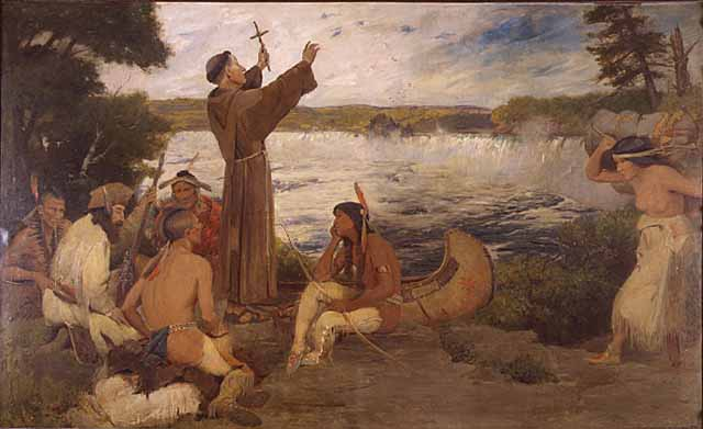 """Father Hennepin Discovers the Falls"" Image from Minnesota State Historical Society"
